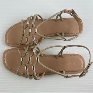 Witchery Linen Slingback Strappy Leather Round Square Toe Sandal Shoes Size 7